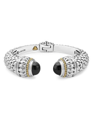 18K Gold And Sterling Silver Caviar Color Onyx Cuff, 14Mm in Black Onyx