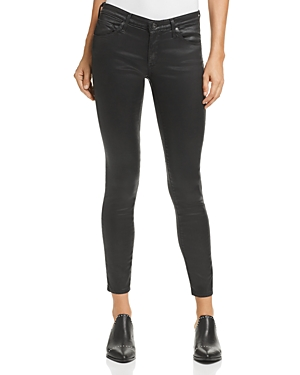 Ag Coated Legging Ankle Jeans in Leatherette Super Black