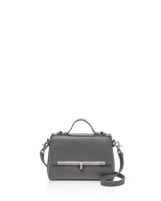Vivi Calfskin Leather Satchel - Grey, Slate Gray/Silver