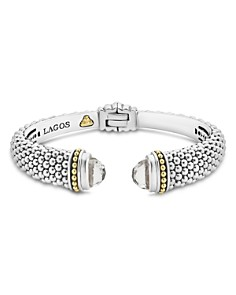 LAGOS - 18K Gold and Sterling Silver Caviar Color White Topaz Cuff Bracelets