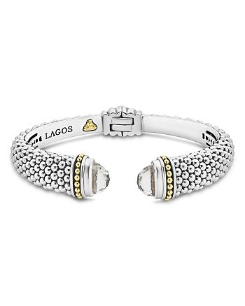 LAGOS - 18K Gold and Sterling Silver Caviar Color White Topaz Cuff, 12mm