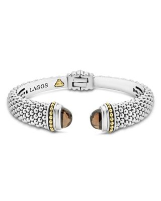 18K Gold and Sterling Silver Caviar Color Smoky Quartz Cuff, 12mm