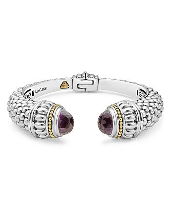 LAGOS - Sterling Silver & 18K Yellow Gold Caviar Cuff Bracelet with Amethyst