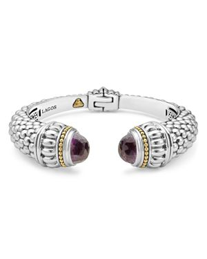 Lagos 18K Gold and Sterling Silver Caviar Color Amethyst Cuff, 14mm