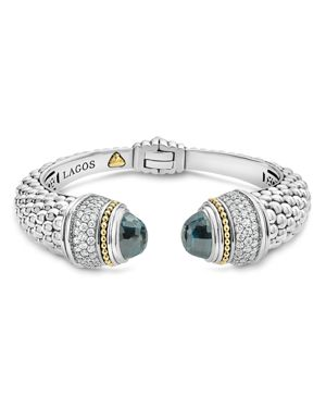 Lagos 18K Gold and Sterling Silver Caviar Color London Blue Topaz and Diamond Cuff, 14mm