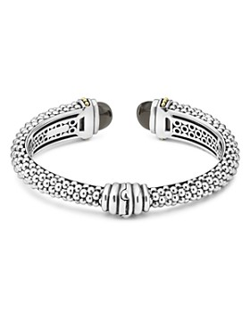 LAGOS - 18K Gold and Sterling Silver Caviar Color Black Onyx Cuff Bracelets