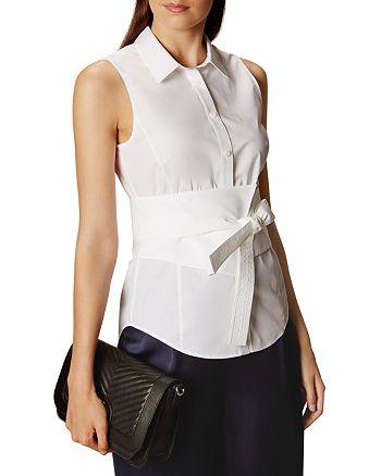 KAREN MILLEN - Banded Tie-Front Shirt
