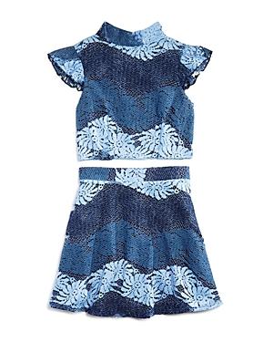 Miss Behave Girls' Floral Lace Mock-Neck Top & Skirt Set - Big Kid