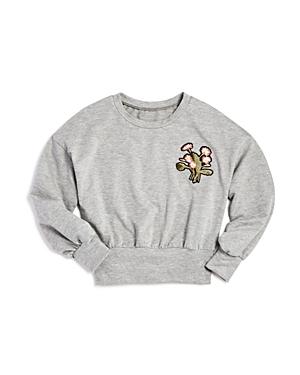 Aqua Girls' Drop-Shoulder Sweatshirt with Floral Patch, Big Kid - 100% Exclusive