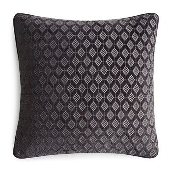 "Hudson Park Collection - Interlock Velvet Embroidered Decorative Pillow, 18"" x 18"" - 100% Exclusive"