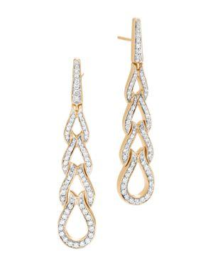 John Hardy 18K Yellow Gold Classic Chain Pave Diamond Long Drop Earrings