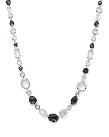 IPPOLITA - Sterling Silver Rock Candy® Mother-of-Pearl Doublet, Hematite Doublet & Clear Quartz Necklace in Piazza, 18.5""