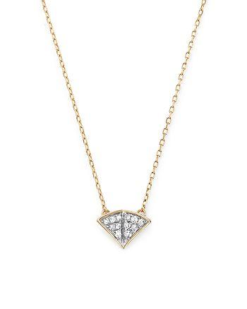 """Adina Reyter - 14K Yellow Gold Tiny Pavé Diamond Fan Pendant Necklace, 15"""""""