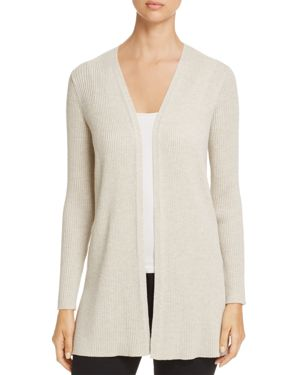 Eileen Fisher Open Front Ribbed Wool Cardigan