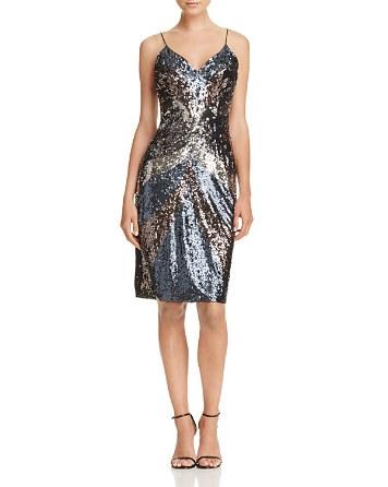 $Aidan Mattox Sequin Spaghetti Strap Dress - Bloomingdale's