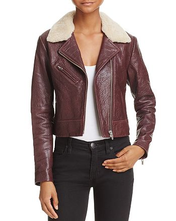 Veda - Nova Shearling-Collar Leather Jacket - 100% Exclusive