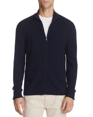 Brooks Brothers Full Zip Textured Wool Sweater