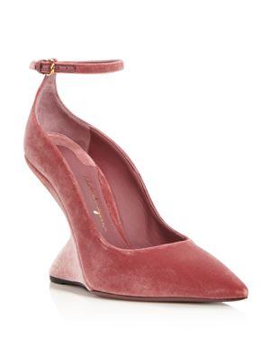 Salvatore Ferragamo Tivoli Velvet F-Wedge Ankle Strap Pumps