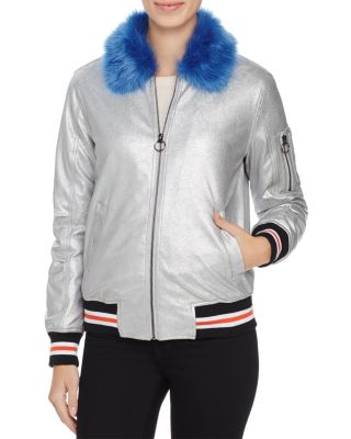 METALLIC PUFFER BOMBER JACKET - 100% EXCLUSIVE