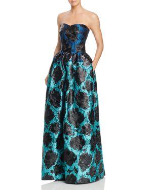 Paule Ka Strapless Floral Jacquard Gown