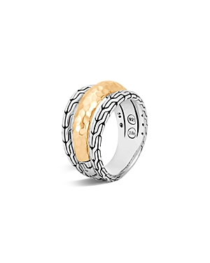John Hardy Classic Chain Hammered 18K Gold and Sterling Silver Triple Band Ring