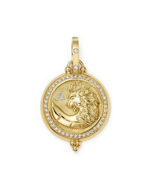 Temple St. Clair - 18K Yellow Gold Diamond Lion Coin Pendant