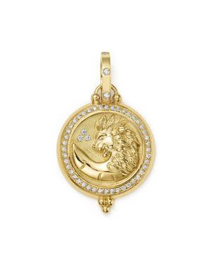 Temple St. Clair 18K Yellow Gold Diamond Lion Coin Pendant