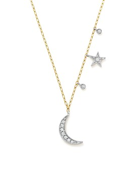 """Meira T - 14K White and Yellow Gold Diamond Moon and Star Pendant Necklace, 16"""""""