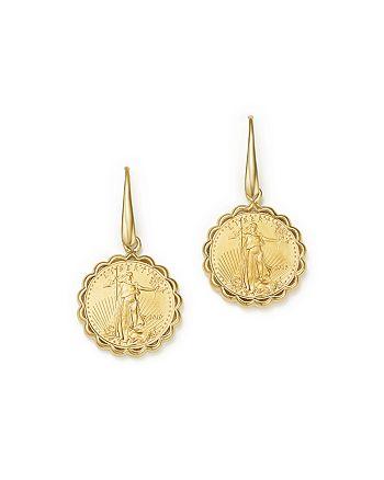 Bloomingdale's - Coin Drop Earrings in 14K Yellow Gold - 100% Exclusive