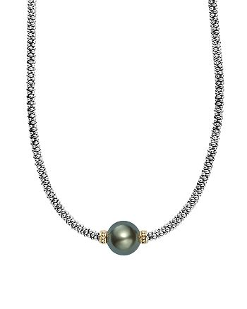 """LAGOS - 18K Gold and Sterling Silver Luna Cultured Tahitian Pearl Necklace, 18"""""""