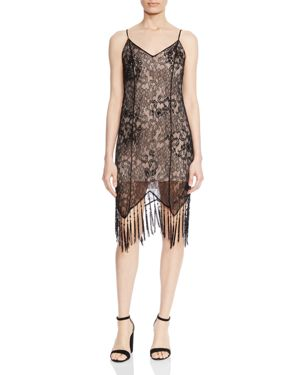 Haute Hippie Flapper Beaded Lace Fringe Slip Dress