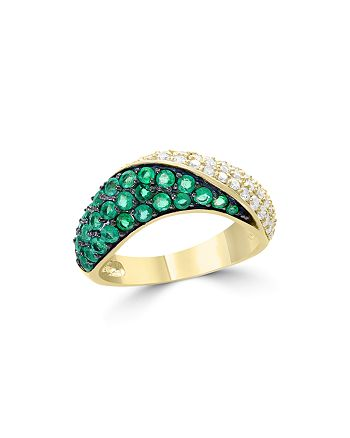 Bloomingdale's - Diamond and Emerald Ring in 14K Yellow Gold - 100% Exclusive