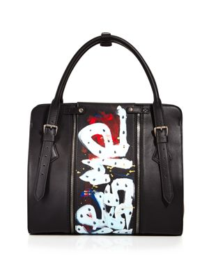 Love x Fashion x Art Kiss Large Leather Satchel