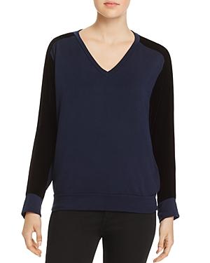 Velvet by Graham & Spencer Tabora Velvet-Inset Sweatshirt