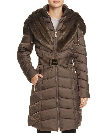 Laundry by Shelli Segal - Faux Fur Trim Belted Puffer Coat