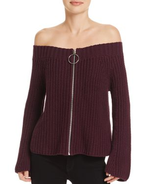 525 America Off-the-Shoulder Ring-Pull Sweater