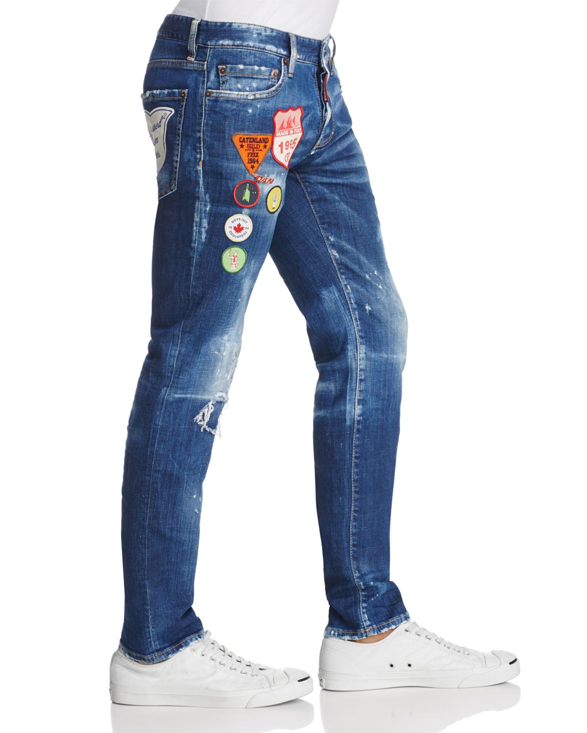 Patched Slim Fit Jeans In Stormy Wash by Dsquared2