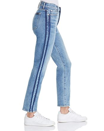 7 For All Mankind - WeWoreWhat X Bloomingdale's Edie Straight-Leg Jeans in Gold Coast Waves - 100% Exclusive