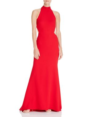 Avery G Tie-Back Crepe Halter Gown