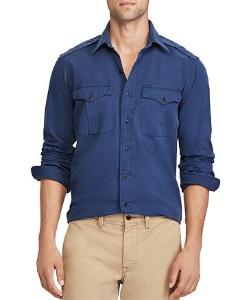 unverwechselbarer Stil überlegene Materialien Mode Polo Ralph Lauren Iconic Military Button-Down Shirt ...