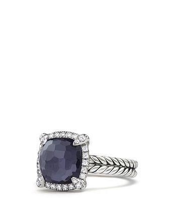 David Yurman - Châtelaine Pavé Bezel Ring with Black Orchid and Diamonds