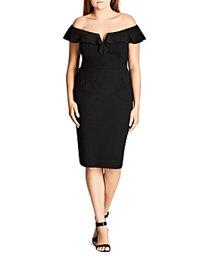 New City Chic Plunge Off-the-Shoulder Sheath Dress, Black