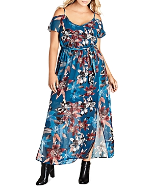 City Chic Lily Print Cold Shoulder Maxi Dress