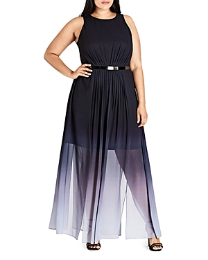 City Chic Ombre Pleated Maxi Dress
