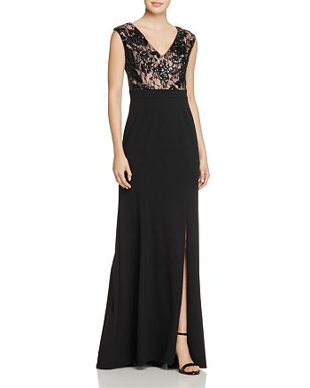 Adrianna Papell - Embellished Lace-Bodice Gown