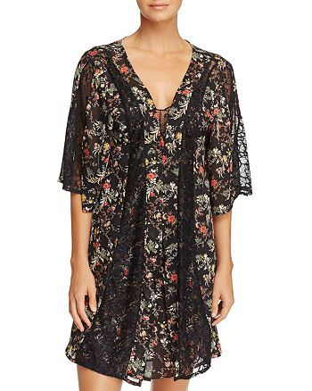 Sam Edelman - Chiffon & Lace Open Robe