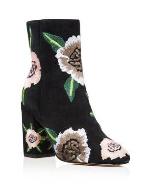 Rebecca Minkoff Women's Bryce Floral Embroidered Suede Block Heel Booties