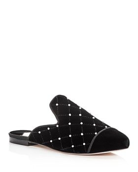 Isa Tapia - Women's Charleen Embellished Quilted Velvet Mules