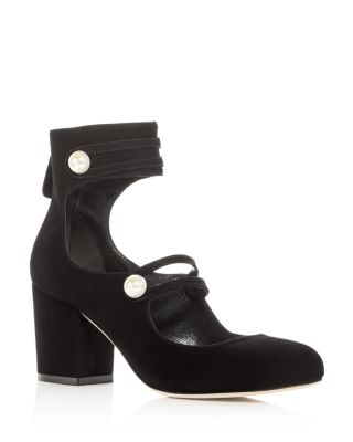 ISA TAPIA Women'S Marina Suede Ankle Strap Block Heel Pumps - 100% Exclusive in Black