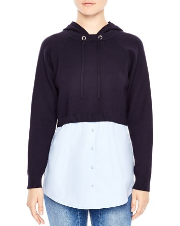 $Sandro Horia Hooded Combo Sweater - Bloomingdale's